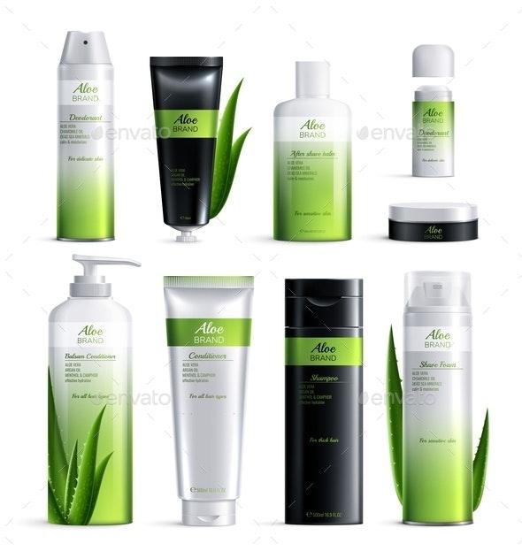Realistic Organic Cosmetics Ingredients Design Icon Set - Health/Medicine Conceptual