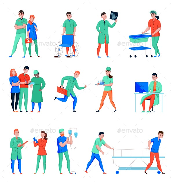 Hospital Flat Icons Set - Health/Medicine Conceptual