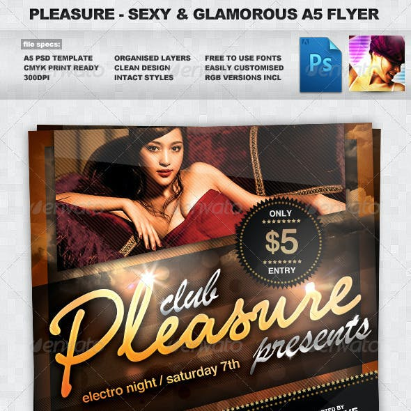 Pleasure - Sexy & Glamorous PSD A5 Flyer Template