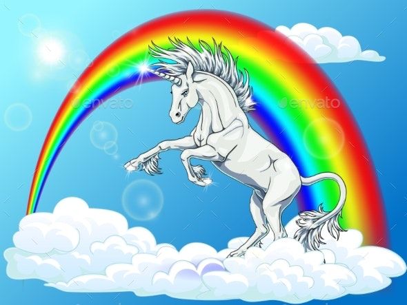 State White Unicorn on Rainbow and Blue - Monsters Characters