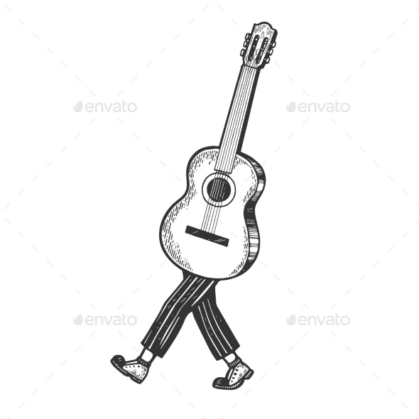 Acoustic Guitar Walks on Its Feet Sketch Engraving - Miscellaneous Vectors