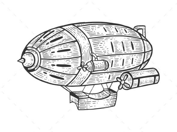 Airship Dirigible Sketch Engraving Vector - Miscellaneous Vectors