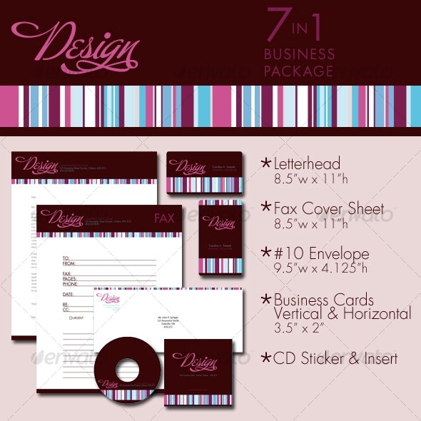 7 in 1 Design Stripe Business Package Templates - Stationery Print Templates