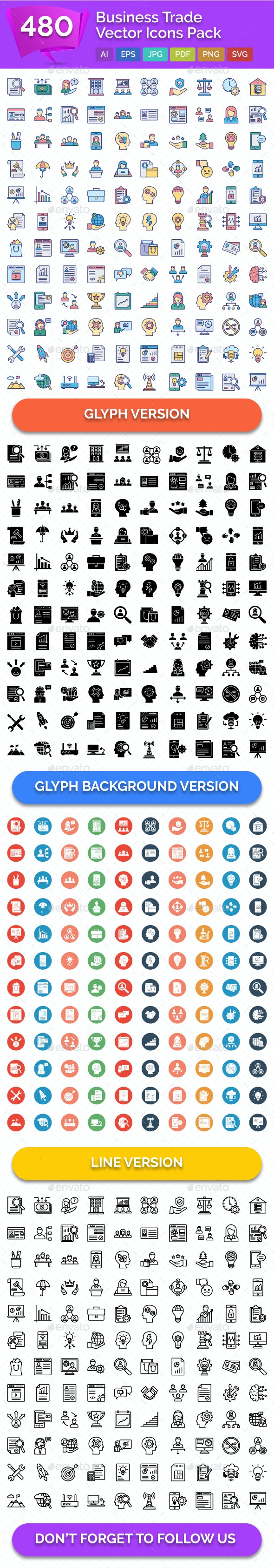 480 Business Trade Vector Icons Pack - Icons