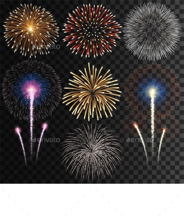Set of Isolated Fireworks - Miscellaneous Seasons/Holidays