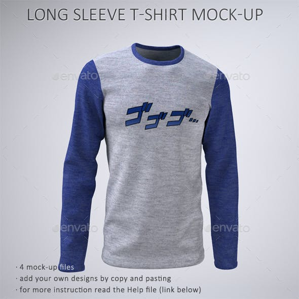 Man's Long Sleeve T-Shirt Mock-Up