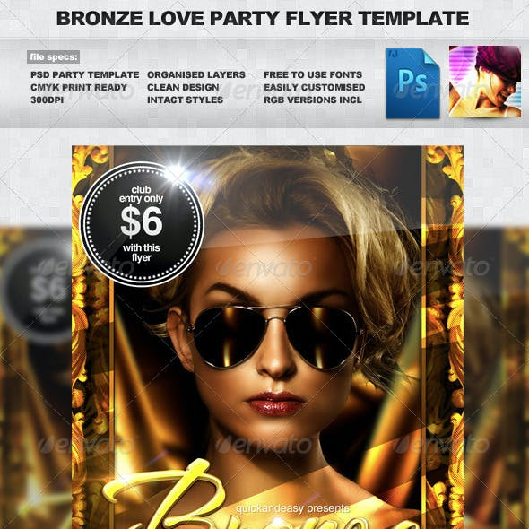 Bronze Love - Gold & Sexy Night Club Party Flyer