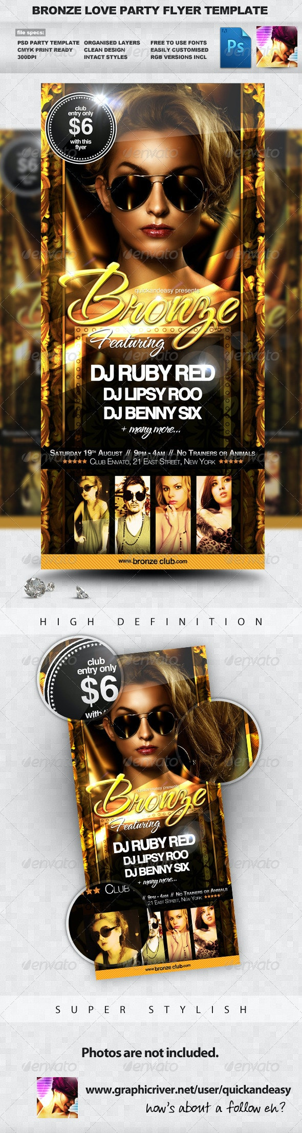 Bronze Love - Gold & Sexy Night Club Party Flyer - Clubs & Parties Events