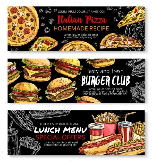 Fast Food Menu Special Offer Chalkboard Banner Set - Food Objects