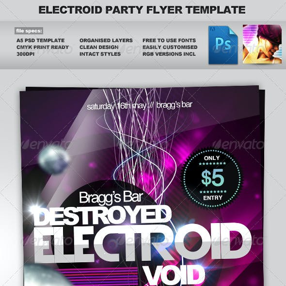 Electroid - A5 Night Club Event Flyer Template