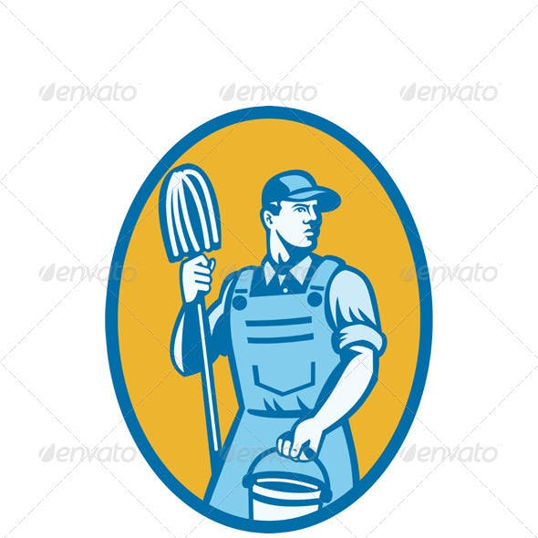 Cleaner Worker With Mop And Pail
