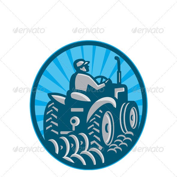 Farmer Plowing With Tractor Retro