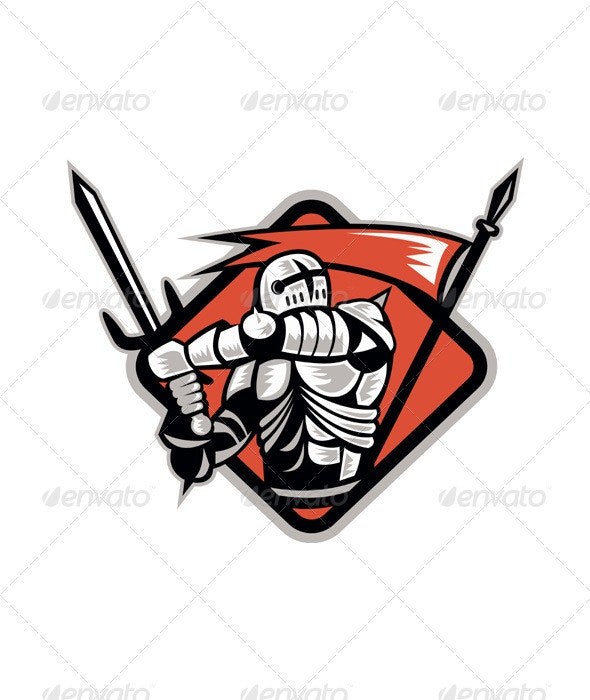 Knight Crusader With Sword Flag Retro - People Characters