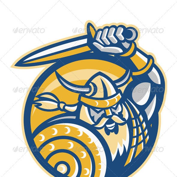 Viking Norse Warrior With Sword And Shield
