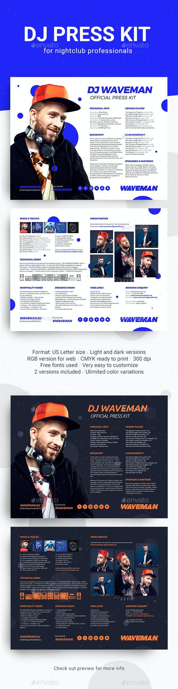 Modern DJ Press Kit / Rider / Resume PSD Template - Resumes Stationery