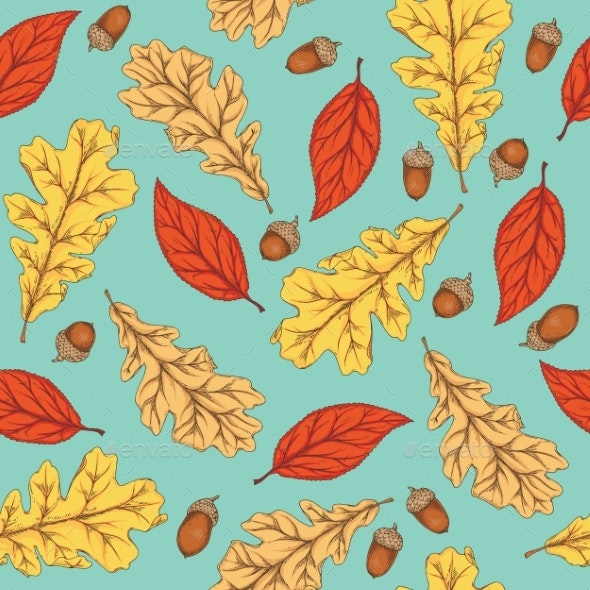 Autumn Seamless Pattern with Leaves and Acorns - Seasons Nature