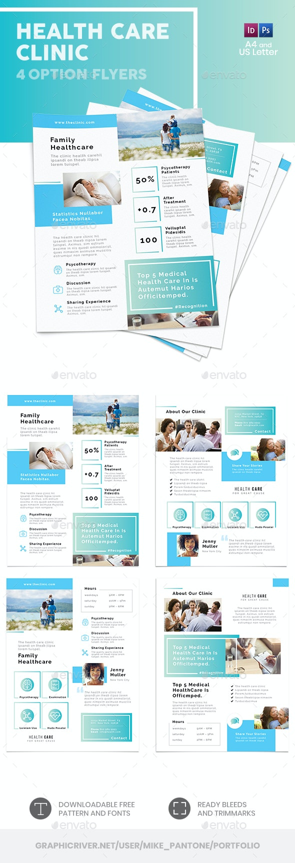 Health Care Clinic Flyers – 4 Options - Corporate Flyers