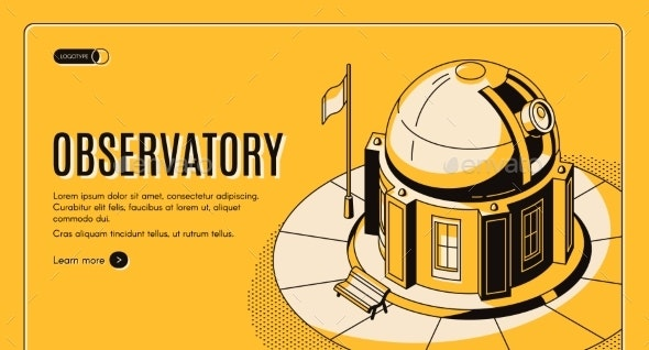 Astronomical Observatory Isometric Vector Website - Buildings Objects
