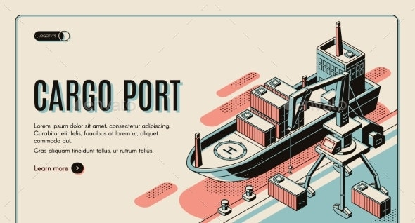 Cargo Port Isometric Vector Landing Page Template - Industries Business