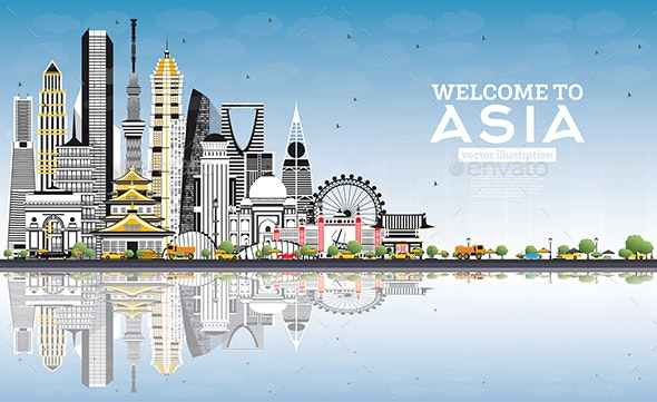 Welcome to Asia Skyline with Gray Buildings and Blue Sky - Buildings Objects