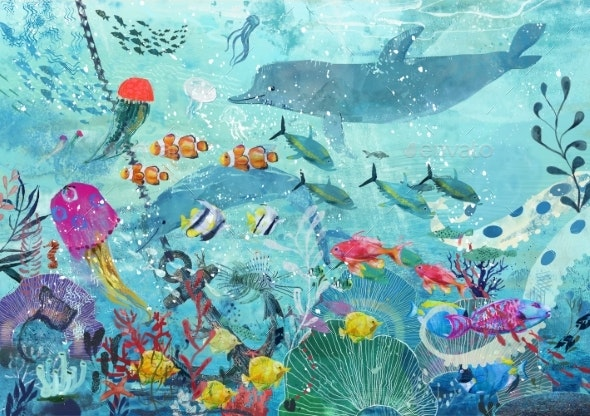 Blue Underwater Background with Fish - Scenes Illustrations