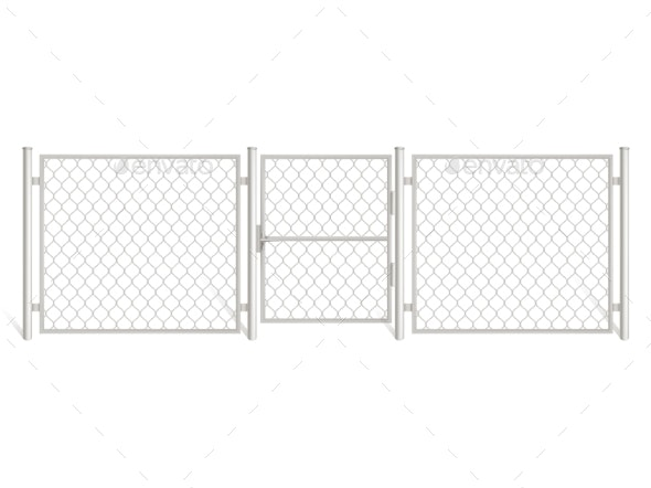 Wire Fence Isolated on White Background - Industries Business