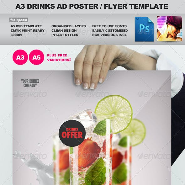 A3 Drinks Promotion Advertisement Poster Template