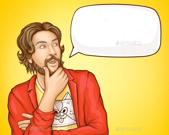 Bearded Man in Fashioned Clothes and Speech Bubble - People Characters