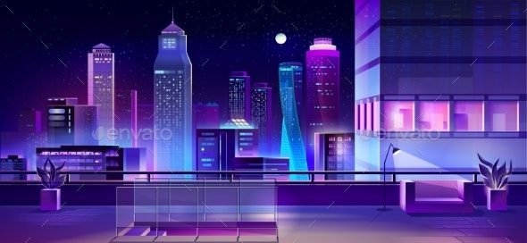 Modern Megapolis at Night Urban Town Architecture - Buildings Objects