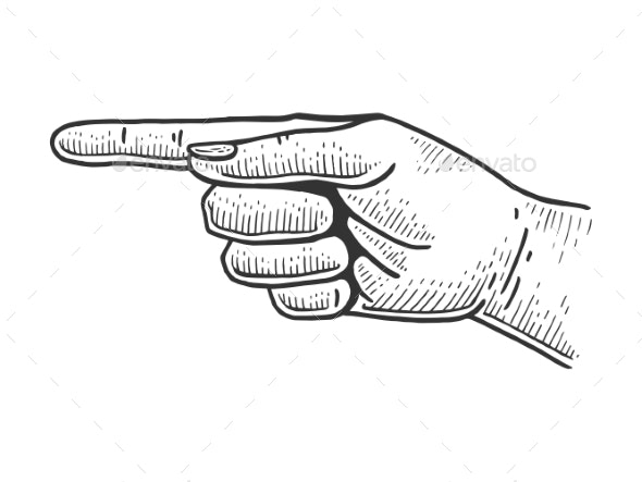 Hand Pointer with Index Finger Sketch Engraving - Miscellaneous Vectors