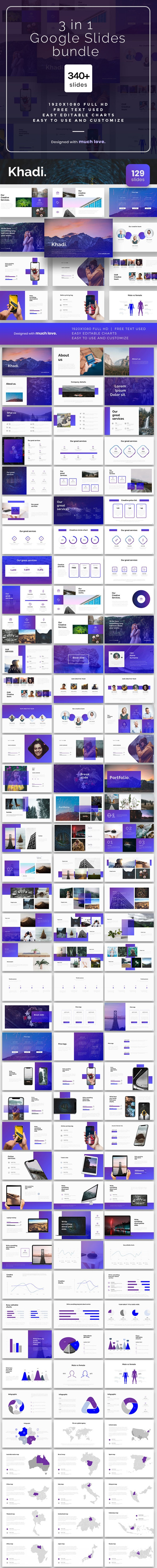 3 in1 Bundle Google Slides Template - Google Slides Presentation Templates