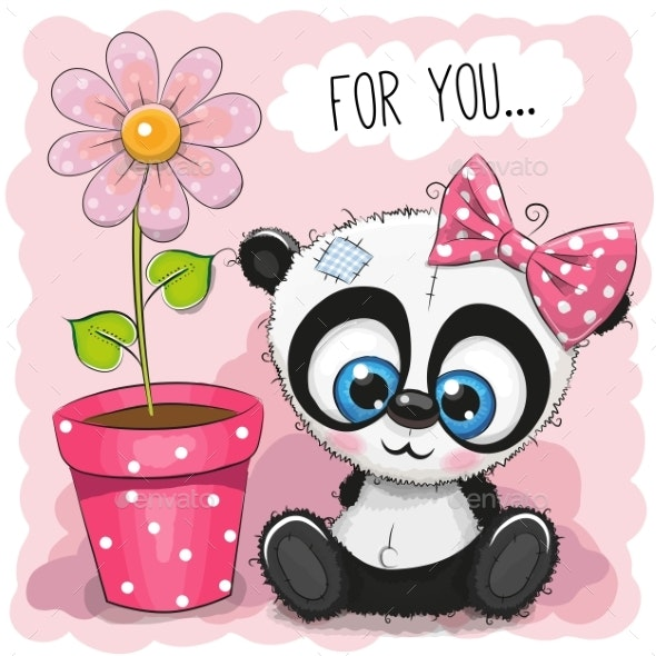 Greeting Card Panda Girl with Flower - Flowers & Plants Nature