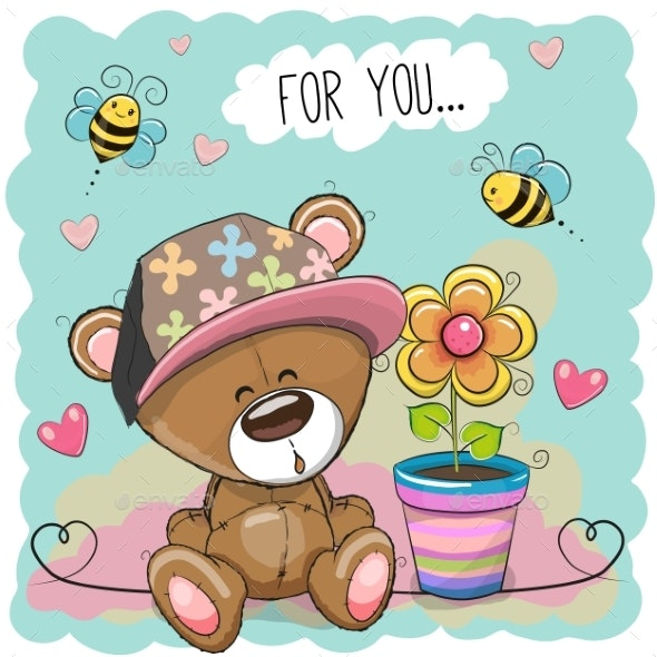 Greeting Card Bear with Flower - Flowers & Plants Nature