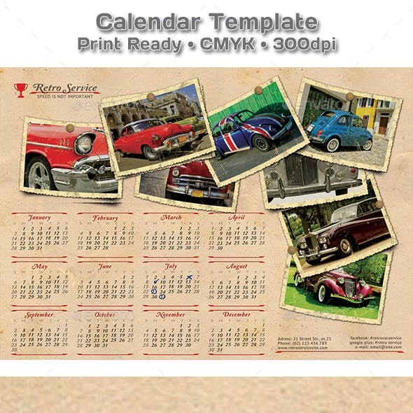 Retro Cars Service Calendar 2019 - 2020 Template
