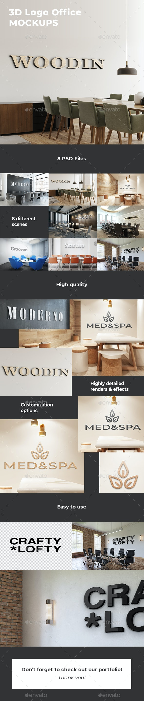3D Logo Office Mockups - Logo Product Mock-Ups