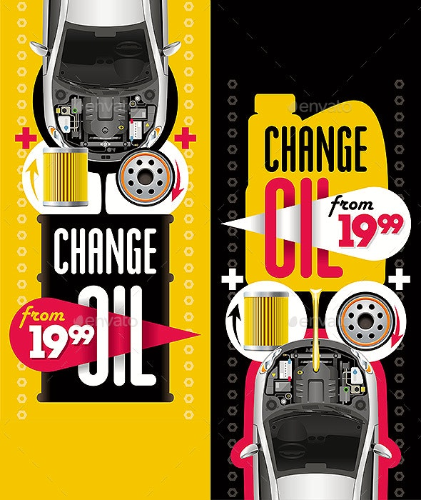 Change Oil Two Banners - Services Commercial / Shopping