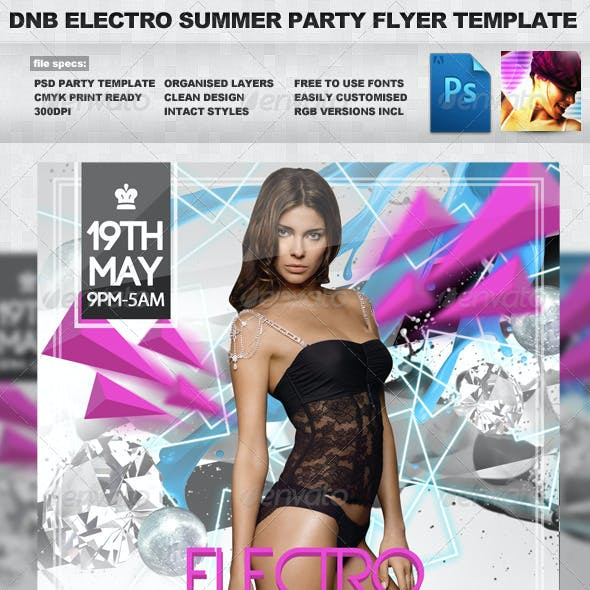 D&B Electro Summer 2x PSD Party Flyer Template