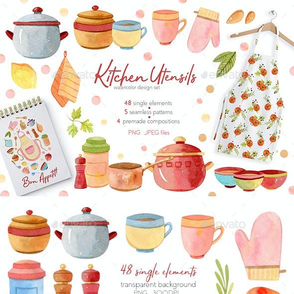 Watercolor Kitchen Utensils Set 2