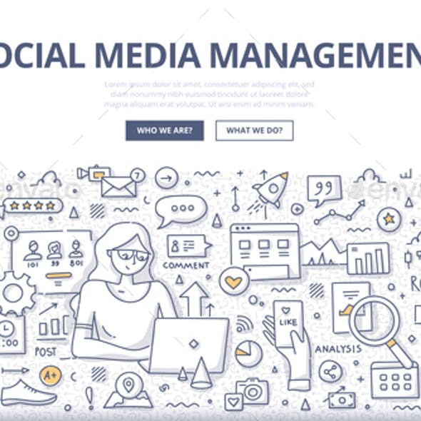Social Media Management Doodle Concept