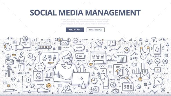Social Media Management Doodle Concept - Media Technology
