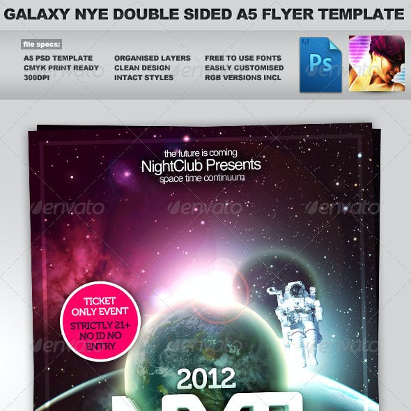 Galaxy NYE - Double Sided A5 PSD Flyer Template