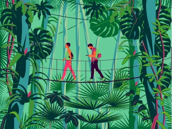 Man and a Woman on a Suspension Bridge - Flowers & Plants Nature