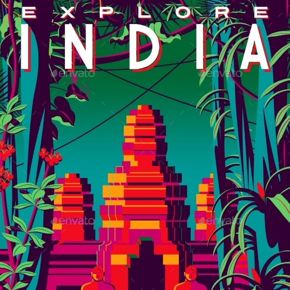Travel Poster About India with Jungle