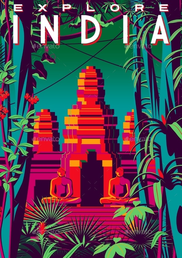 Travel Poster About India with Jungle - Flowers & Plants Nature