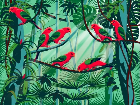 Parrots in the Thickets of a Flowering Rainforest - Flowers & Plants Nature