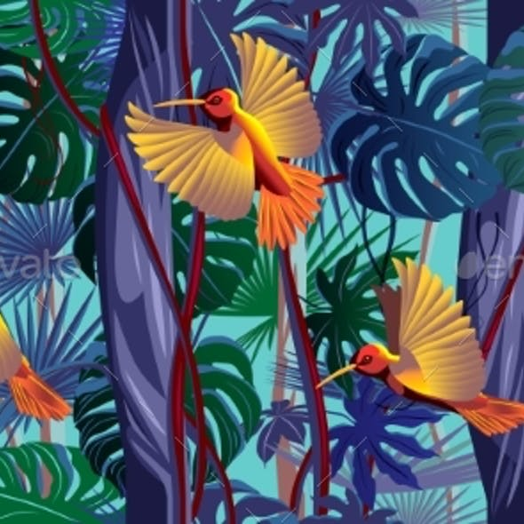 Flying Hummingbirds in the Thickets