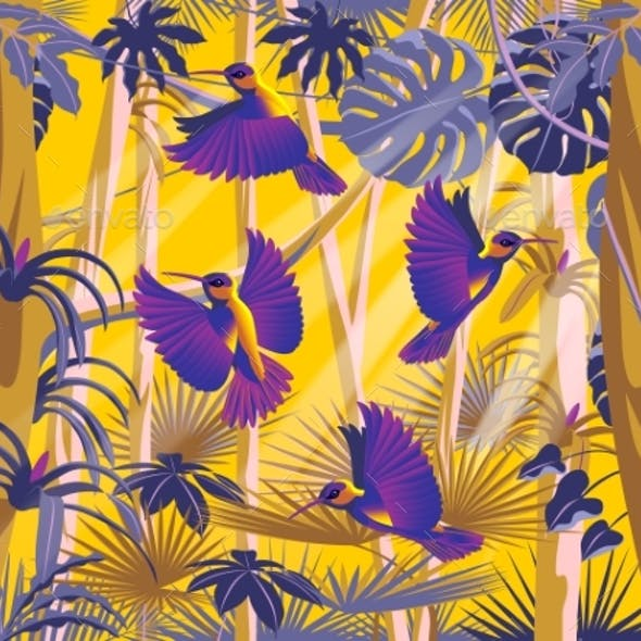 Flying Hummingbirds in the Thickets of a Flowering