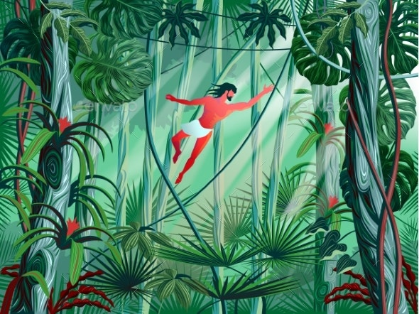 Tarzan Jumps From Branch to Branch in the Thickets - Landscapes Nature