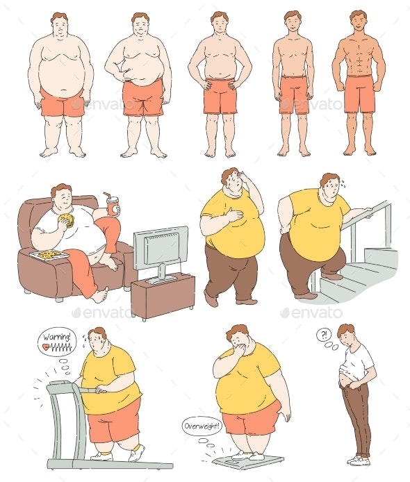 Fat Person Weight Loss Comparison Drawing - Sports/Activity Conceptual