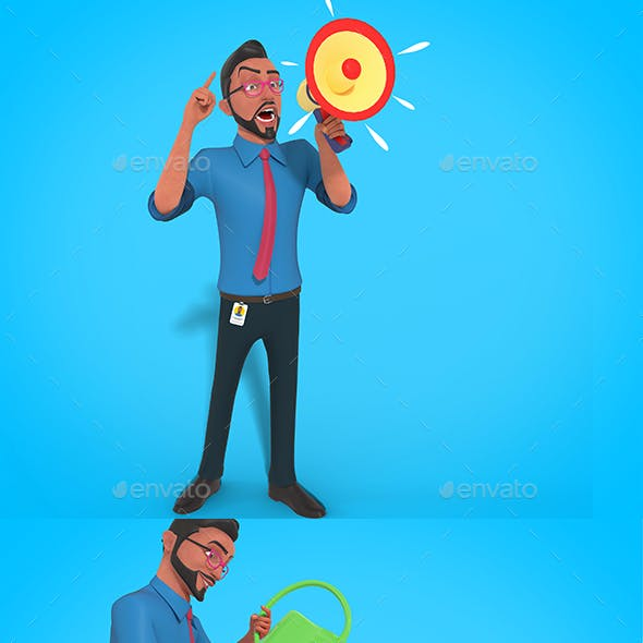 Mr Bob 3D Character Business Mascot Actions Fully Editable Psd